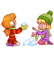 Two girls playing with snow vector image vector image
