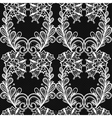 White lace seamless pattern on black background vector image vector image
