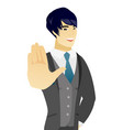 young asian groom showing palm hand vector image vector image