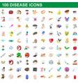 100 disease icons set cartoon style vector image vector image