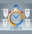 abstract 3d infographic clock watch icon vector image vector image