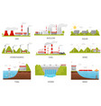 alternative energy sources hydroelectric wind vector image