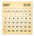 calendar 2015 05 May vector image vector image