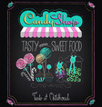 candy shop menu on chalkboard vector image vector image