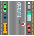 Car Breaks Traffic Rules Overtaking is Forbidden vector image