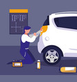 car in maintenance workshop with mechanic working vector image