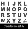character icon set 2 gray icons on white vector image