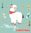 christmas postcard with holiday lama and elements vector image vector image