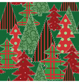christmas trees patchwork vector image
