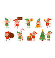 collection christmas elves isolated on white vector image vector image