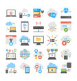 collection of cloud computing and web hosting flat vector image vector image