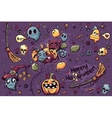 Colored background hand-drawn Halloween doodles vector image vector image