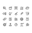 cooking line icons pan pot kitchen utensils and vector image
