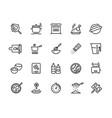 cooking line icons pan pot kitchen utensils vector image