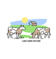 cow on farm line icon vector image vector image