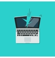 Crashed laptop isolated vector image vector image