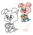 cute cartoon soft toy pig holding a toy cube in vector image vector image