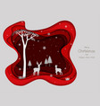 deers family with snowflakes on red paper art vector image