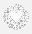 dogs and heart round vector image vector image