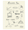 drawing business plan concept on paper note vector image vector image