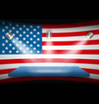 flag of usa and platform with spotlights vector image vector image