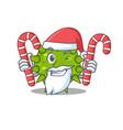 friendly vibrio cholerae in santa cartoon vector image vector image