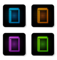 glowing neon book icon isolated on white vector image vector image