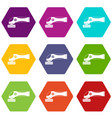 grinder machine icon set color hexahedron vector image vector image