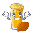 grinning lassi mango in a cartoon bottle vector image vector image