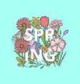 hand drawn flowers concept with word spring vector image vector image