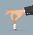 hand extinguishing a cigarette butt vector image vector image