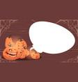 happy halloween banner different pumpkins over vector image