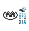 Houses Area Flat Icon With Bonus vector image vector image