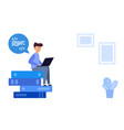 man sits on a stack books thinking and working vector image