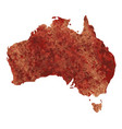map of australia with a reddish brown paint vector image vector image