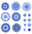 monochrome blue collection of isolated arabesques vector image