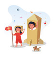 mother is playing with her daughter in cardboard vector image