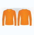 orange long sleeve t shirt vector image vector image