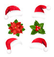 santa hat and poinsettia and holly berry vector image