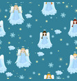 seamless texture with angels stars snowflakes vector image