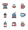 set coffee shop icons vector image