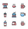set coffee shop icons vector image