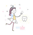 smiling tooth fairy cute little happy fairy girl vector image