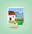 spring landscape with house on mountain vector image vector image