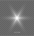star light shine bright flash sparks with lens vector image vector image
