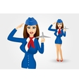 stewardess holding plane model and saluting vector image vector image