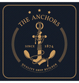 Vintage nautical anchor and tied rope label on vector image vector image