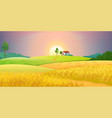 wheat fields village farm landscape with green vector image