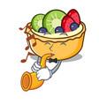 with trumpet fruit tart mascot cartoon vector image vector image