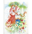 Woman and men in national costumes and wreaths on vector image